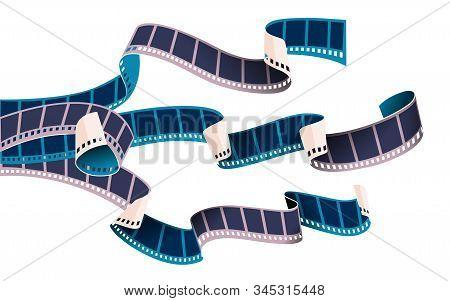 Stripes Of Movie Cinema Film Reels Tape Isolated On White Transparent Background. Vector Illustratio