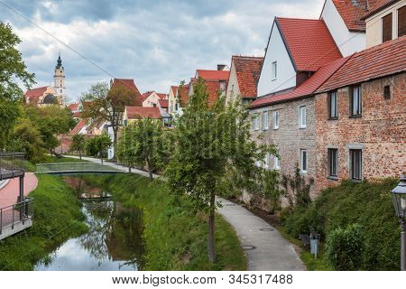Gabled houses of Donauworth Old Town, a part of popular Romantic Road touristic route in Swabia, Bavaria, Germany