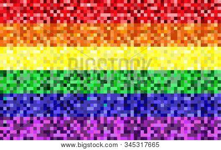 Rainbow Gay Pride Flag, Pixel Style. Lgbt Pride Flag. Gay Community Symbol. Vector Illustration.