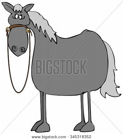 Illustration Of A Dark Gray Horse With A Startled Expression.