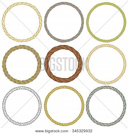 Set Of Round Rope Frame. Collection Of Thick And Thin Circles Isolated On A White Background. Rope C