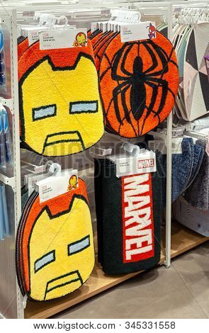 Minsk, Belarus - December 20, 2019: A Floor Mat Designed By Marvel Is Sold In The Store.