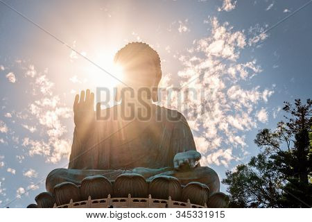 Giant Buddha Statue Or Enormous Tian Tan Buddha At Po Lin Monastery In Hong Kong