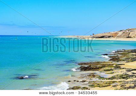 view of Sotavento Beach in Fuerteventura, Canary Islands, Spain