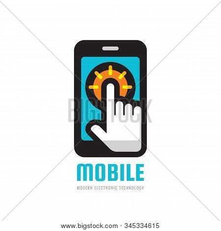 Mobile Phone Business Logo Template. Smartphone Creative Logo Sign. Cellphone Logo Symbol. Hand Touc