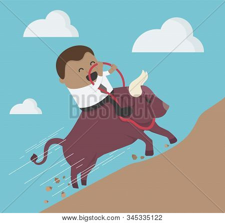 Concept Cartoon Illustration Businessman Riding Bison Head To The Mountains