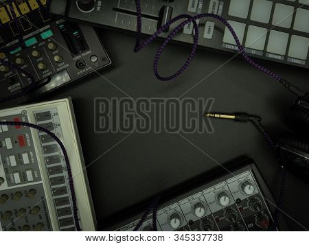 Table Top Aerial Image Of Music Instruments, Background Concept, Copy Space For Creative Design Add