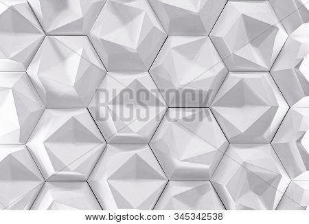White Gypsum Wall Panel With 3d Effect. Volumetric Gypsum Texture.
