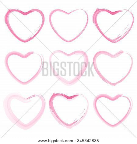 Set Of Vector Pink Hearts In Grunge Style