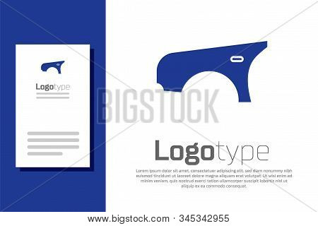 Blue Car Fender Icon Isolated On White Background. Logo Design Template Element. Vector Illustration