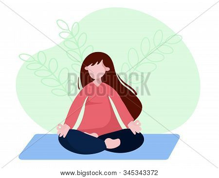 Woman Is Sitting With Crossed Legs And Meditate. Concept Illustration For Yoga, Pranayama, Meditatio