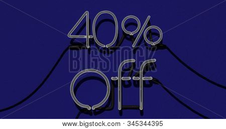 40 Percent Discount 3d Sign Off In Blue Background, Special Offer 40% Neon, Sale Up To 40 Percent Of