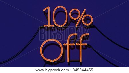 10 Percent Discount 3d Sign On Blue Background, Special Offer 10% Neon, Sale Up To 10 Percent Off, S