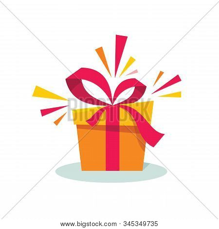 Gift Box With Ribbon Concept Vector Illustration In Flat Design Style. Present Icon. Surprise Sign.