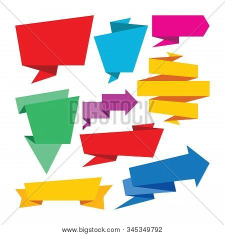 Origami Banners Set - Vector Illustration. Creative Collection. Abstract Geometric Message Sticker.