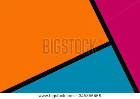 Orange, Pink, Blue And Black Colored Geometry Abstract 2020 Trendy Art Background.