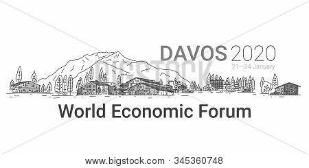 Banner Written Davos 2020, World Economic Forum. Picturesque Alpine City. Interesting Ways To Organi