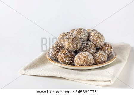 Homemade Energy Balls With Dried Apricots, Raisins, Dates, Prunes, Walnuts, Almonds And Coconut. Hea