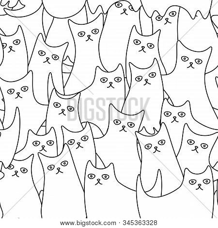 Cute And Funny Seamless Pattern With Weird Monochrome Cartoon Cats