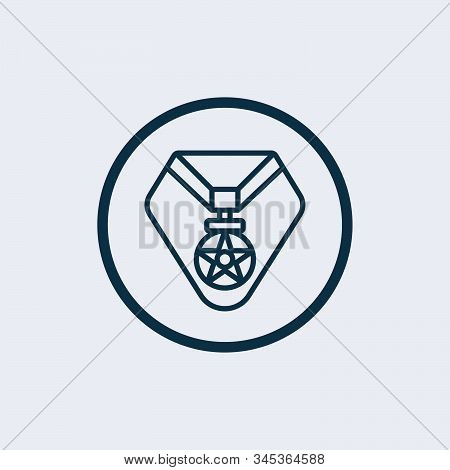 Medal Of Valor. Medal Of Honor. War Military Award. Flat Vector Icon. Simple Black Symbol On White B