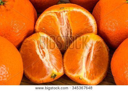 Orange Mandarins,  Tangerine Peel Or Mandarin Slice Isolated On White Background