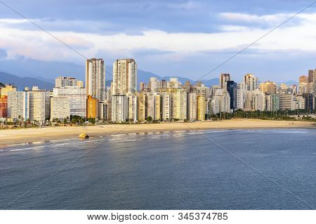 Aerial View Of Two Brazilian Coastal Cities Of The Paulista Coast. End Of Praia Do Itarare Beach At