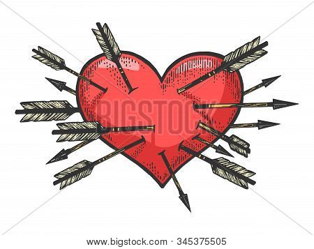 Heart Symbol Pierced With Many Arrows Sketch Engraving Vector Illustration. Romantic Love Lovesickne