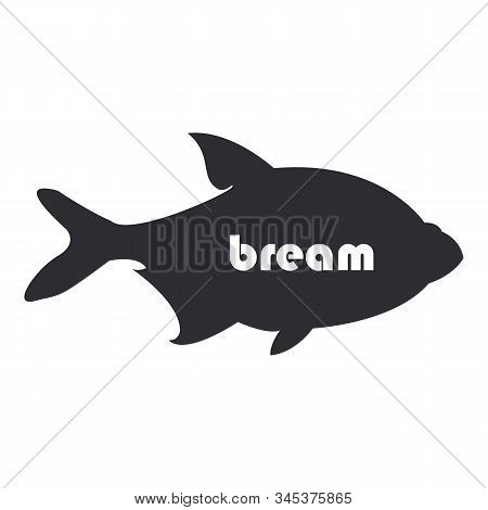Bream Fish Black Silhouette On White Background.
