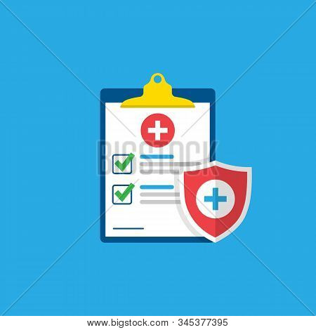Medical Form, Medical Report. Clipboard With A Cross, Checkmarks. Shield With A Cross. Informed Cons