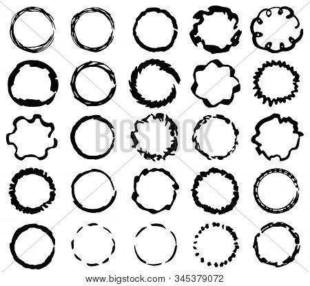 Big Set Of Isolated Vector Black Grunge Thick Scratch And Wavy Ink Brush Round Frames. Dirty Hand Dr