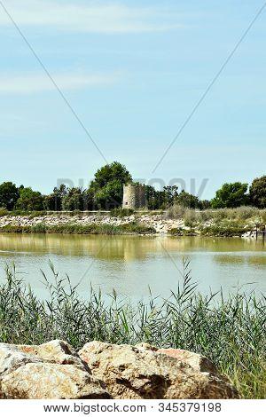 Windmill In The Segura River In Guardamar Del Segura, Alicante. Spain. Europe.