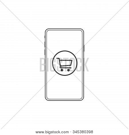 Online Shopping Icon Vector On Smartphone From Advertising Collection. Thin Line Online Shopping Out