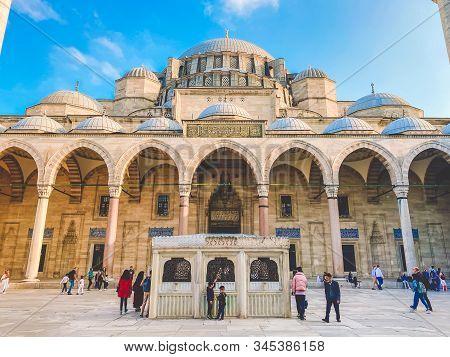 Suleymaniye Mosque. Suleymaniye Camii. Minaret, Marmara. Sulaymaniye Mosque Exterior Turkey October