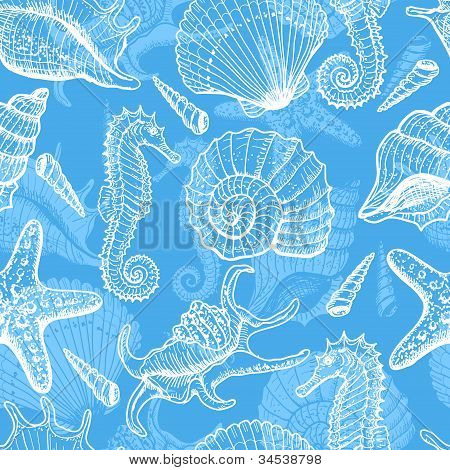 Sea hand drawn seamless pattern