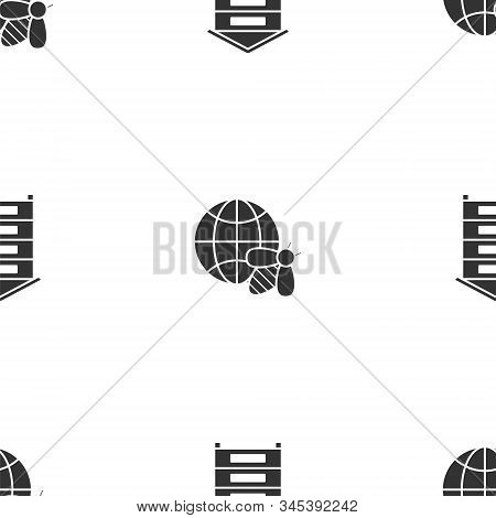 Set Hive For Bees, Honeycomb Map Of The World And Bee And Hive For Bees On Seamless Pattern. Vector
