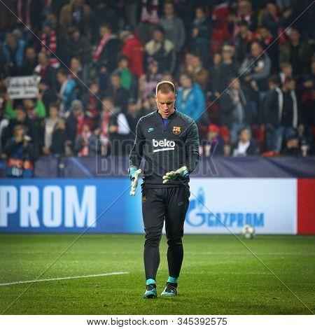 Prague, Czechia - October 23, 2019: Goalkeeper Marc-andre Ter Stegen Of Barcelona In Action During T