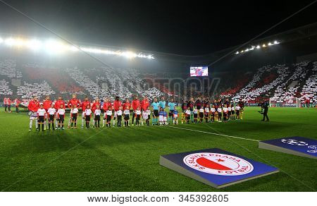 Prague, Czechia - October 23, 2019: Barcelona And Slavia Praha Players Listen To Champions League An