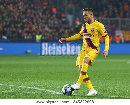 Prague, Czechia - October 23, 2019: Arthur Of Barcelona Controls A Ball During The Uefa Champions Le