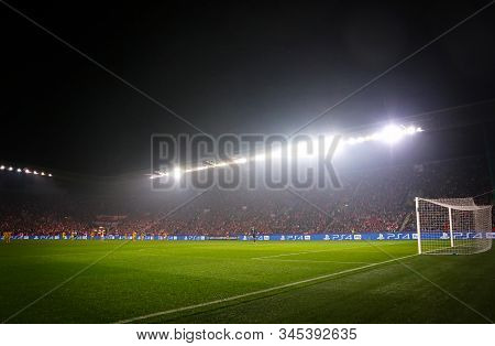 Prague, Czechia - October 23, 2019: Panoramic View Of Eden Arena In Prague During The Uefa Champions