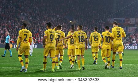 Prague, Czechia - October 23, 2019: Barcelona Players Celebrate After Suares Scored 2nd A Goal Durin