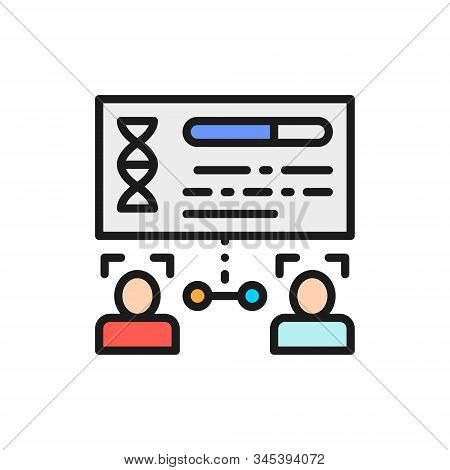 Determination Of Kinship By Persons, Face Verification Flat Color Line Icon.