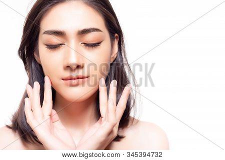 Portrait Beauty Asian Woman Face, Nice Facial Skin. Attractive Beautiful Young Asian Girl Touching F