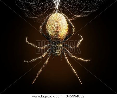 Abstract Closeup Of A Huge Spider Dangling From Its Web . 3d Rendering