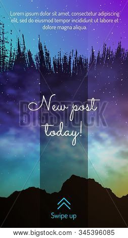 New Post Today Mobile Screen Design With Swipe Button. Colorful Deep Space Background With Stars And