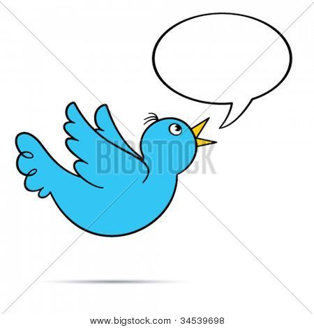 Vector flying bluebird.  Includes speech bubble with copy space on white background. EPS8.