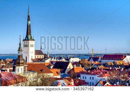 Overview Of Old City, Tallinn In Estonia Taken From The Overlook In Toompea Showing The Town Walls A