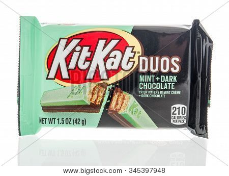 Winneconne, Wi - 24 December 2019 : A Package Of Kitkat Duos Mint And Dark Chocolate Candy Bar Snack