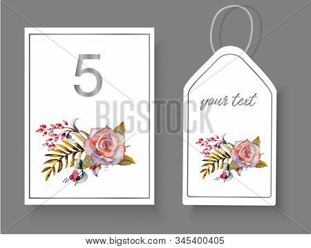 Postcards With A Floral Arrangement Of Roses, Twigs, Leaves On An Isolated White Background For Deco