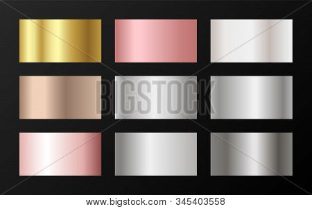 Trendy Golden, Platinum, Bronze, Rose Gold Gradients. Metallic Foil Texture Silver, Steel, Chrome, P