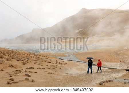 HVERIR, ICELAND, 26 SEPTMEBER, 2019: Tourists visiting the geothermal region of Hverir in Iceland near Myvatn Lake, Iceland, Europe